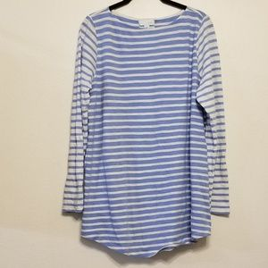 J.Jill contrasting stripes long tab sleeve tee